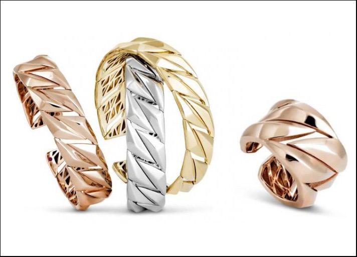 Groumette collection,  bracciali e anello in argento placcati in oro giallo, oro rosa e rodio.