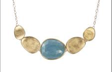Lunaria, collana in oro e acquamarina