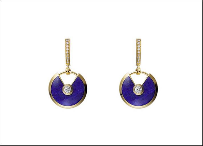 Amulette, orecchini in pro giallo, lapislazzulo blu e diamanti