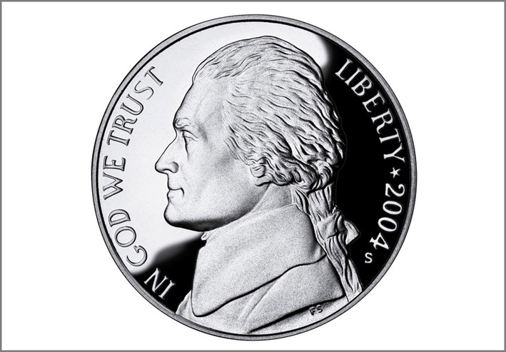 La moneta di nickel da 5 centesimi di dollaro con Thomas Jefferson