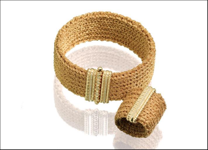 Orofilato, Bracciale e anello in jersey 24 carati