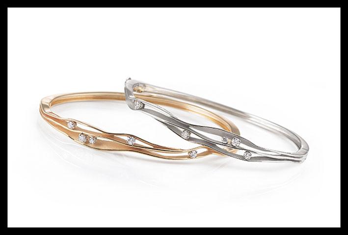 Bracciali in oro bianco e rosa, con diamanti