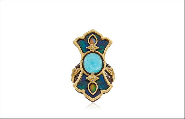 Anello Cross. Oro 18Kt, argento 925, diamanti, zaffiri bianchi, mosaico di opali, due opali, turchese verde. Prezzo: 2678