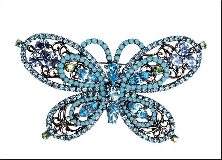 Almaplena, spilla in metallo, perline e strass. Prezzo: 189 euro