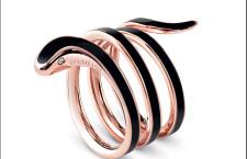 Eden, anello a 2 giri in oro rosa e  ceramica nera