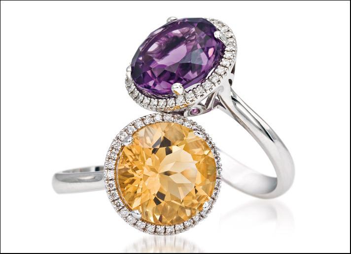 Bibigì, Erika, anello in oro bianco con ametista  e quarzo citrino taglio rotondo montatura Toi e Moi