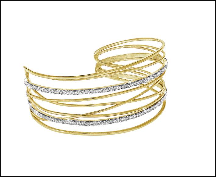 Bracciale in ottone dorato e glitter. Prezzo: 69,90 euro