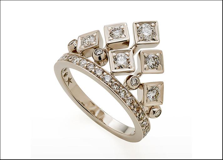 New King ring, anello in Gold Noble e diamanti brown