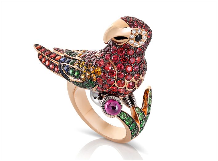 Ring in rose and black gold with diamonds, orange, blue, pink and yellow sapphires, natural green garnet and rubies
