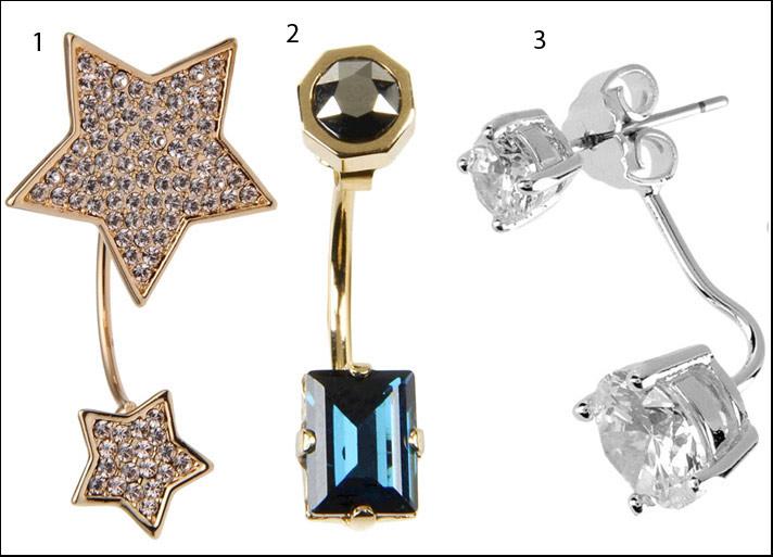 1 Luxory Fashion, metallo e cristalli Swarovski. 2 Maria Francesca Pepe, ottone e strass.  3 CZ by Kenneth Jay Lane, ottone e zirconi.