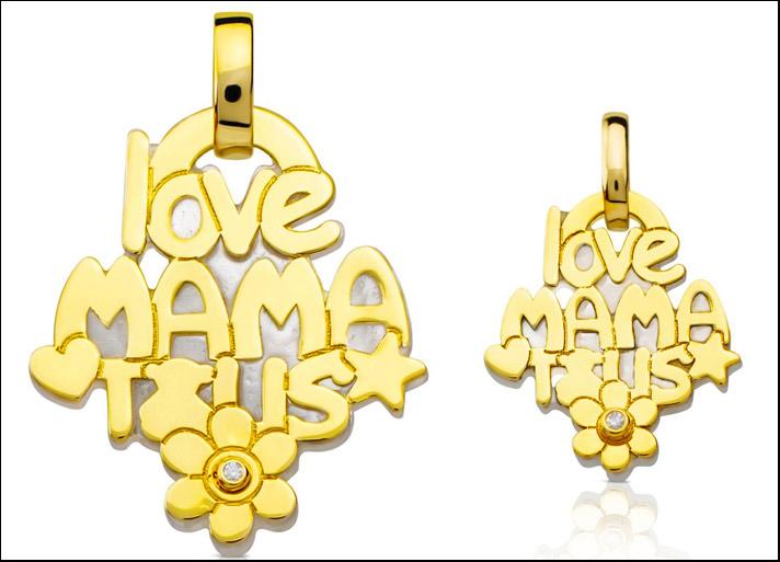 love mama tous, ciondolo in oro giallo 18 carati e madreperla in due misure. Prezzi: 279 e 145 euro