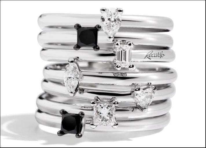 Tuxedo, anelli con diamanti bianchi in cinque diversi tagli e diamante nero taglio princess, ossia ottagonale