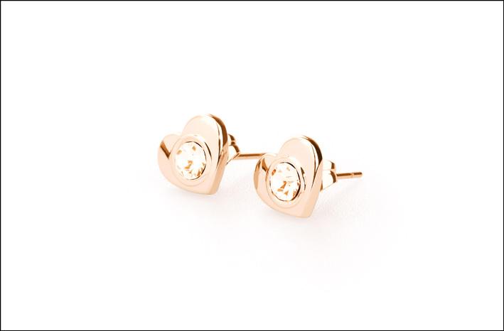 Orecchini Brosway in acciaio e oro rosa pv/ a forma di cuore