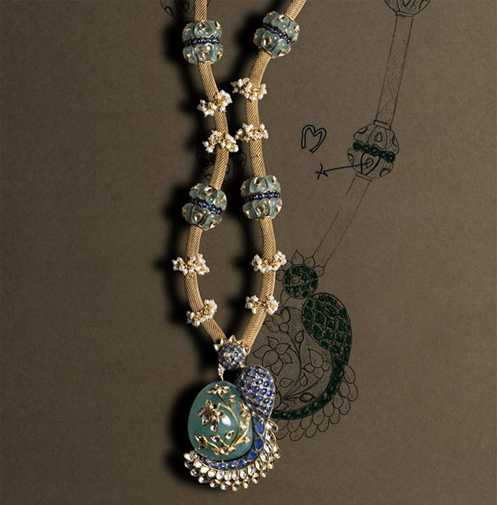 Collana in oro e diamanti della collezione Delhi Durbar