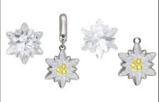 Esempi di cristallo taglio Edwlweiss, da sinistra a destra: Edelweiss Fancy Stone, BeCharmed Pavé Edelweiss Charm, Edelweiss Pendant, Pavé Edelweiss Pendant
