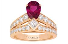 Joséphine, anello Tiara in oro rosa, con pavé di diamanti, una rubellite a forma di pera e un diamante taglio princesse