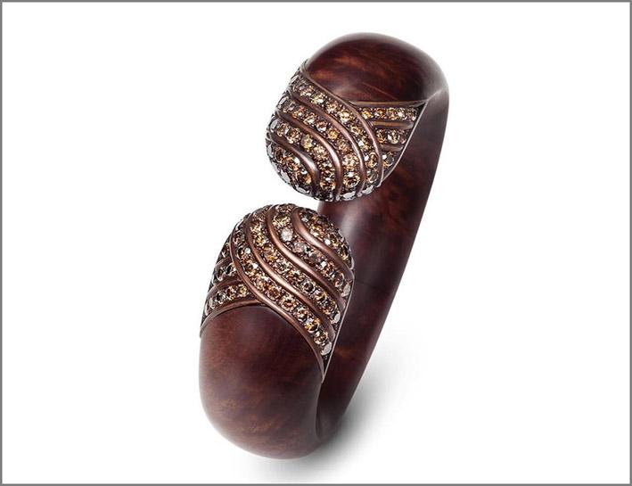 Bracciale con rame, legno e diamanti brown