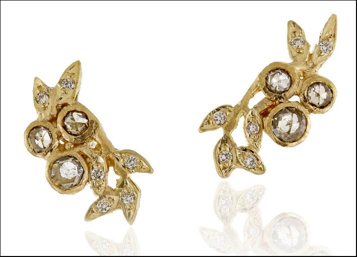 Collezione Leaves, orecchini in oro riciclato e diamanti provenienti dalla miniera di Argyle