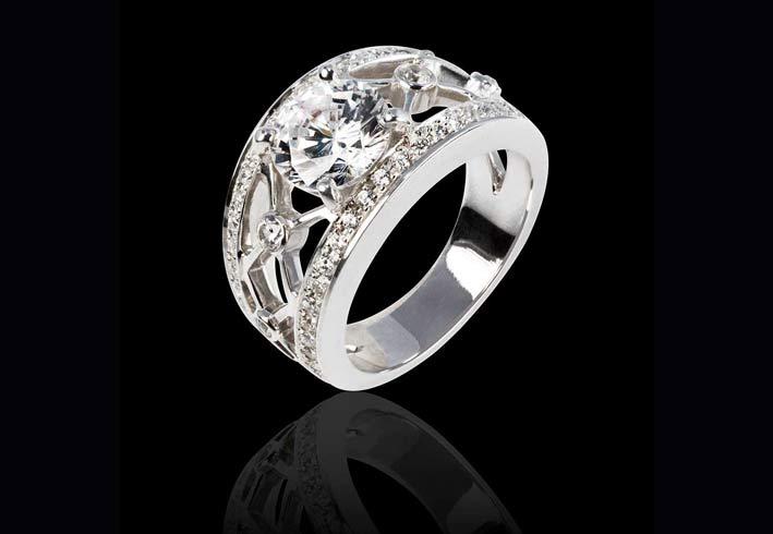 Anello con diamanti taglio brillante Régina Suprema
