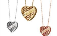 Collezione Golden cage, collana con pendente a forma di cuore in oro 9 carati bianco, giallo e rosa
