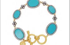 Freida Rothman, bracciale in oro 14 carati con pastiglie ovali in pasta di turchese e zirconia cubica
