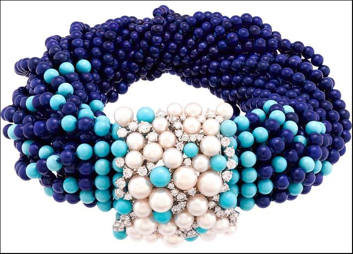 Seven Seas, mare Mediterraneo bracciale Rouleau Azure con lapislazzuli, turchesi, perle e diamanti
