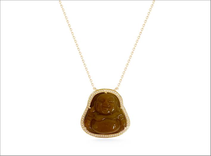 Collana con Buddha in giada intagliata