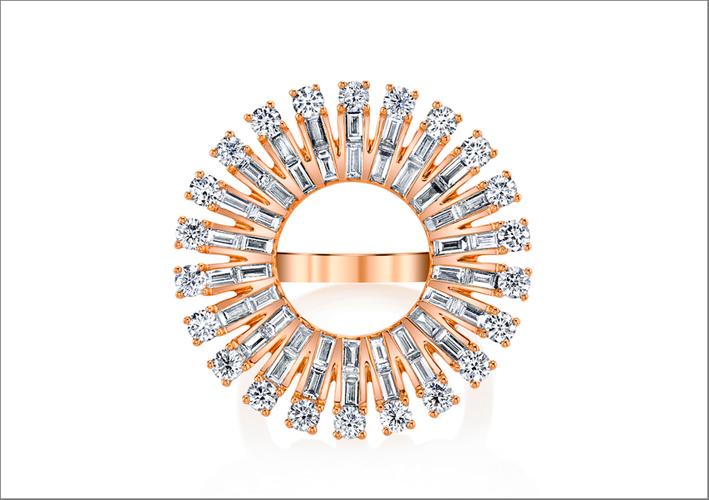 Ava, anello in oro rosa e diamanti. Prezzo: 11.550 dollari
