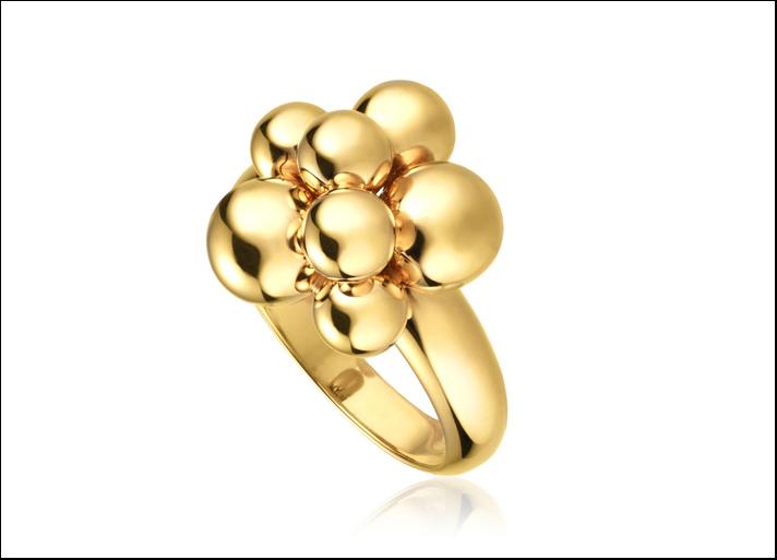 Marina B, collezione Mini Atomo, anello  con palline di diverse dimensioni in oro giallo