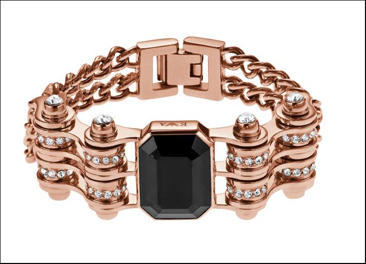 Bracciale in acciaio placcato oro rosa con cristalli bianchi e quarzo centrale fumé.