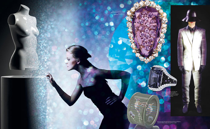 Picture left side: Floating Technology: Crealev Levitation Technology, Concept: Angela Jansen, Creative Director: Crealev, photographer: Mike Roelofs, www.crealev.com. Designs from top to bottom: Ring in 18k rose gold with amethyst and white sapphires by Suzanne Kalan, Suzannekalan.com, photography: Dogbone Designs. Emerald cut gray spinel ring of the New York Collection by Martin Katz, surrounded by micro-set white and black diamonds, amethysts, blue spinels and purple sapphires, set in 18k white gold, www.martinkatz.com Picture right side: KAY KWOK FW2013 COLLECTION, www.kaykwok.com