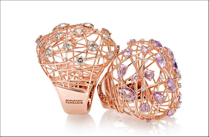 Collezione Arianna: anelli in oro rosa, diamanti e zaffiri rosa