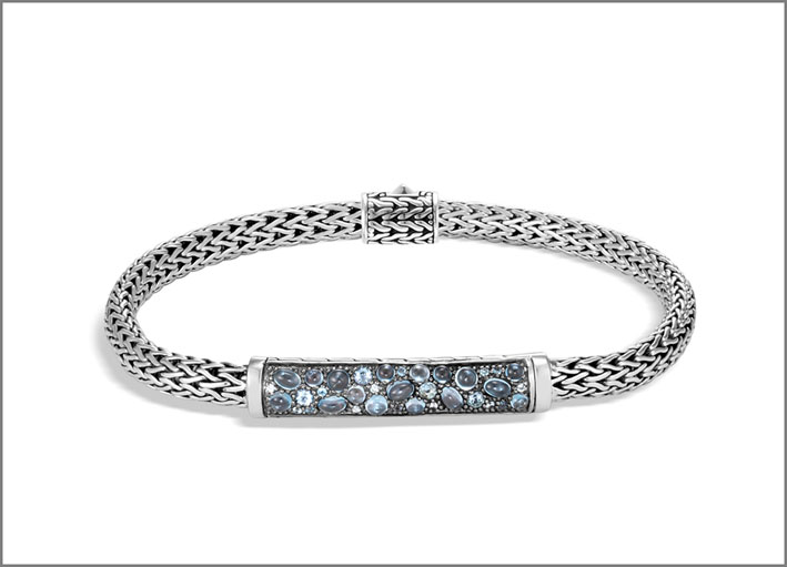 Bracciale in argento con topazio Blue London, Swiss Blue, e zirconi blu