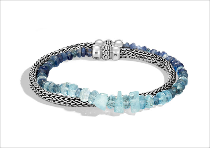 Bracciale in argento con acquamarina e cianite, catena soft flex