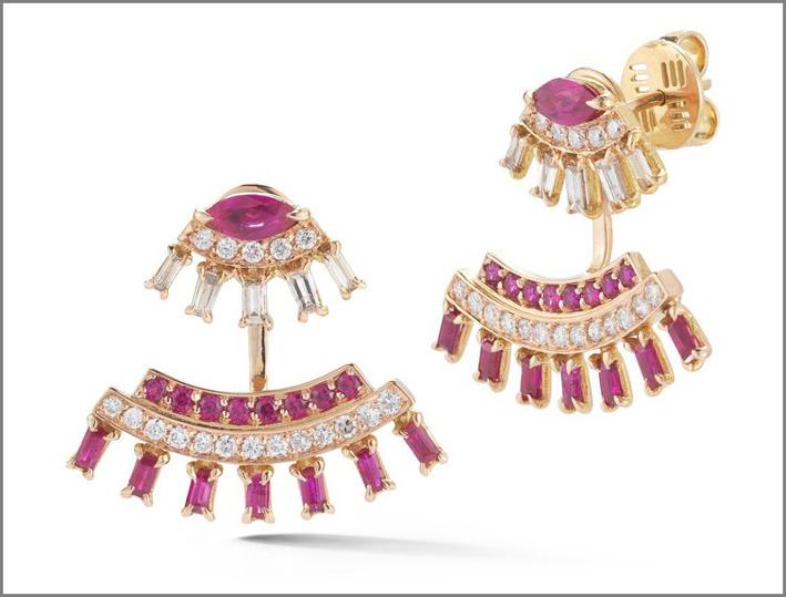 Collezione Una, orecchini con rubini e diamanti