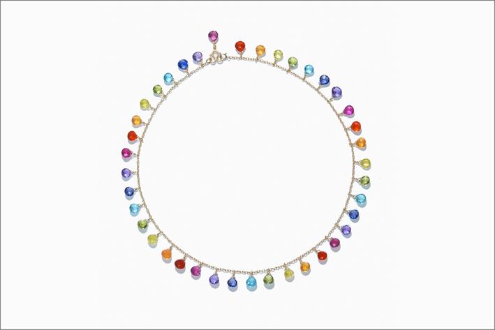 Collier Rainbow, con rubelliti,  opali di fuoco, tormalina gialla, peridoti, apatiti, ioliti e ametiste