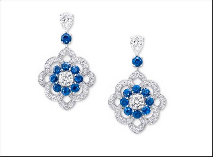 Orecchini pendenti di Graf, diamanti e zaffiri