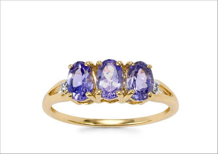 Anello con tanzaniti e zirconi, oro 9 carati