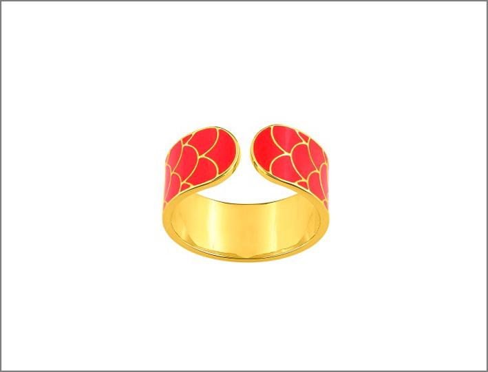 Collezione Glamour, anello in argento e lacca rossa