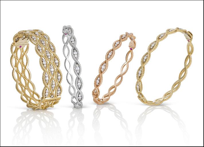 New Barocco, bracciale alto e bangles in oro ritorto giallo, bianco e rosa con diamanti incolori