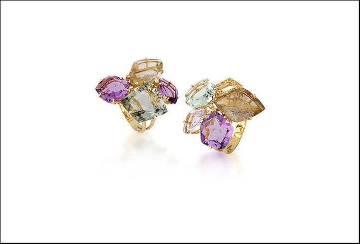 Collezione Pierrot: anelli in oro con ametista rosa, praziolite, quarzo e diamanti