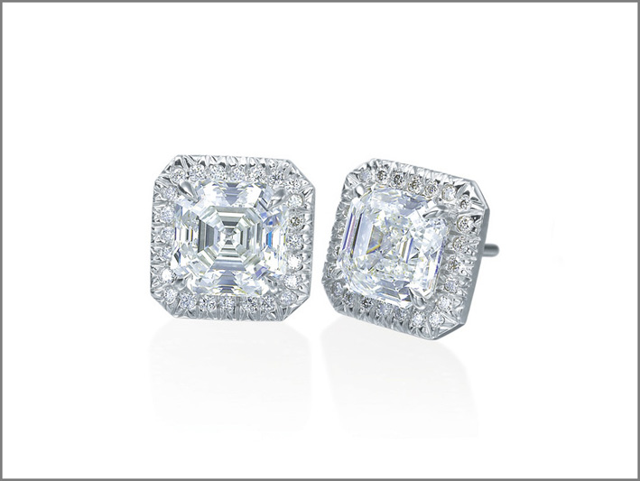 Orecchini Pavo con diamanti taglio Asscher