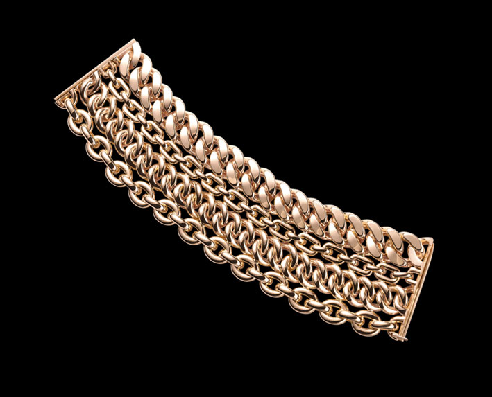 Bracciale a quattro catene in oro rosa 18 carati