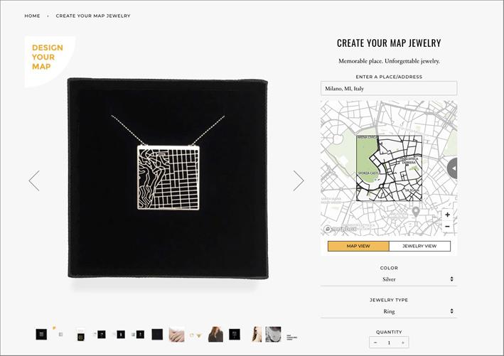 Esempio di un pendente-mappa selezionato online. In questo caso una porzione del centro di Milano
