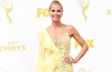 Heidi Klum, abito Versace giallo, gioielli Lorraine Schwartz