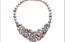 Collana Aphrodite. Oro nero, diamanti, zaffiri, ametiste, perle di acqua dolce