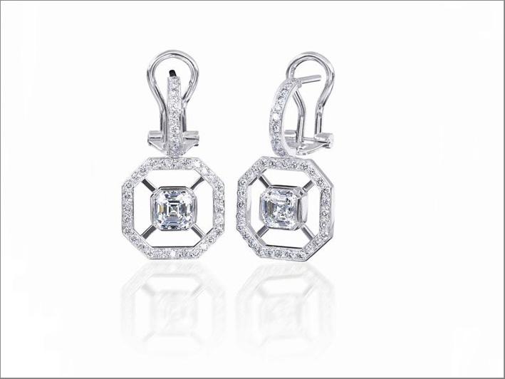 Orecchini con diamanti taglio Asscher