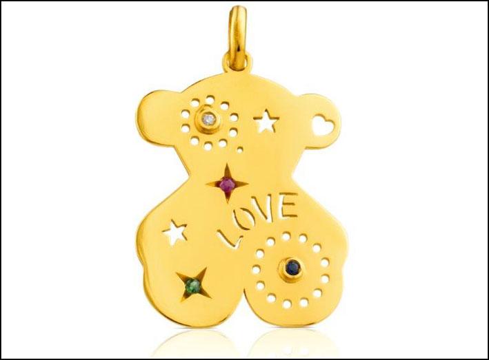 Pendente in oro giallo 18 carati e gemme. Prezzo: 485 euro
