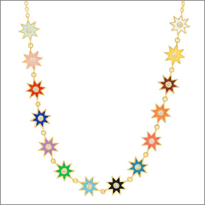 Collana in oro 18 carati, smalto e diamanti