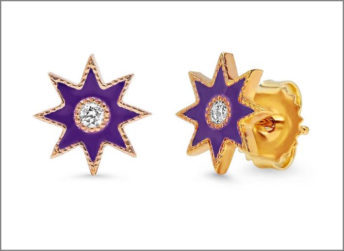 Orecchini in oro 18 carati, smalto e diamanti